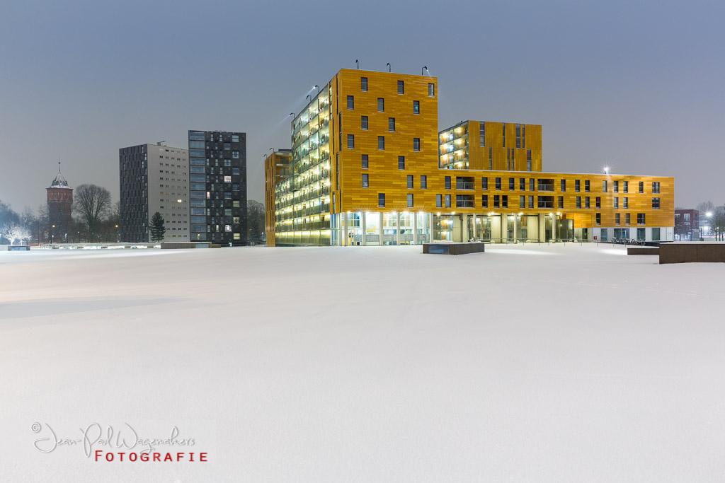 sneeuw, chassé promenade, architectuur, vroege ochtend