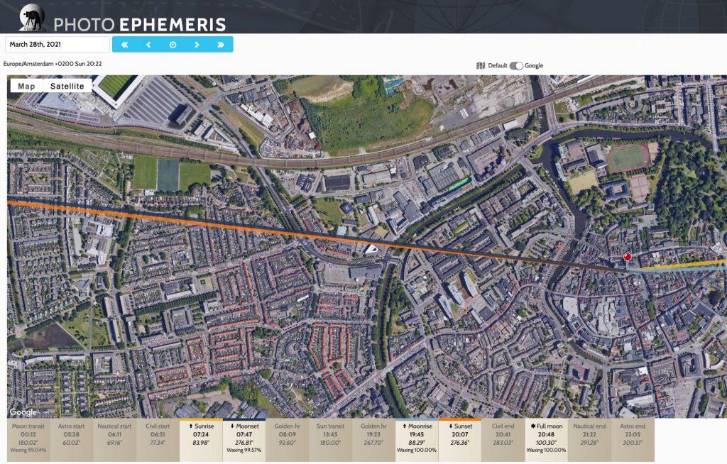 Foto plannen met The Photographers Ephemeris. IJkpunt vastgelegd op de Grote Kerk van Breda.